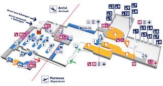 Mapa do terminal e aeroporto Roma Ciampino / Giovan B. Pastine (CIA)